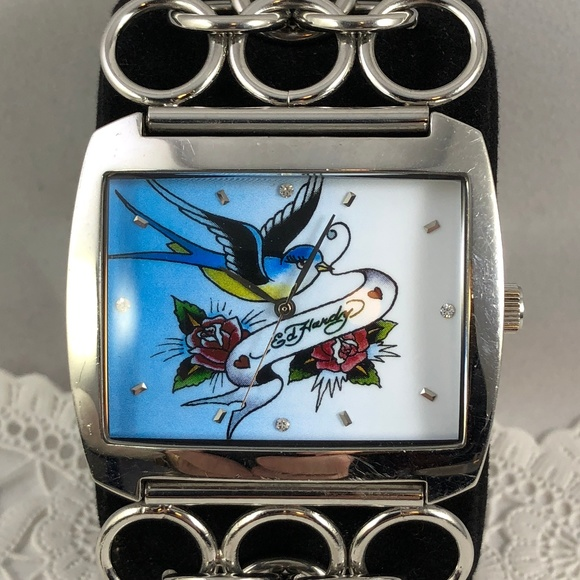 Ed Hardy Accessories - Ed Hardy Stainless Steel Watch Swallow and 2 Roses